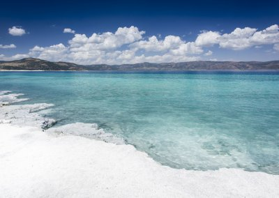 Turquoise waters and white mineral rich beach of Lake Salda, Bur